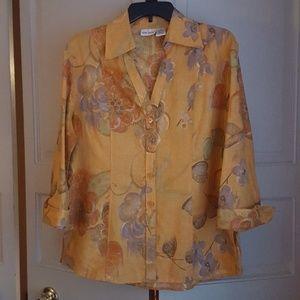 Women's Floral linen shirt blouse